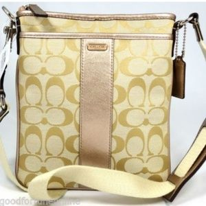 Coach Signature Jacquard Box Metallic Crossbody